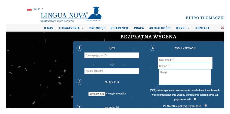 formularz - zlecenia tłumaczeń przysięgłych i zwykłych