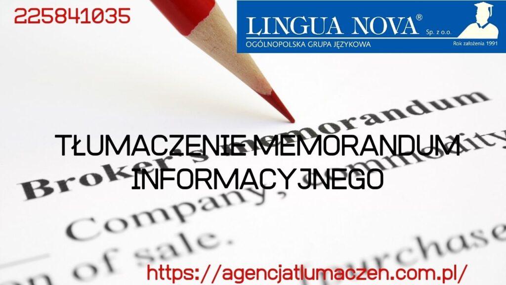 Tłumaczenie prospektu emisyjnego czy tłumaczenie memorandum informacyjnego