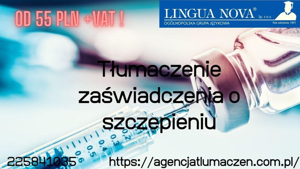 Tłumaczenie zaświadczenia o szczepieniu